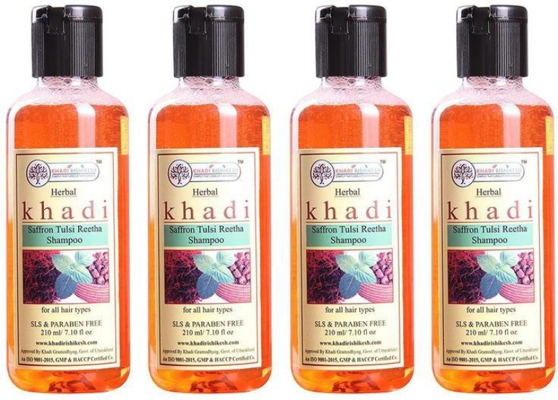 Khadi Rishikesh Herbal Saffron Tulsi Reetha Pack of 4 Shampoo Each -(210 ml)