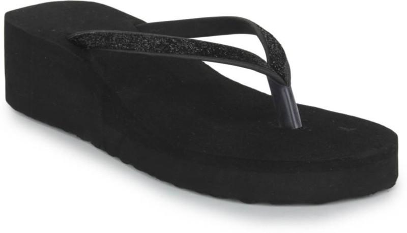 STEPUPP WOMEN BLACK SLIPPER Flip Flops