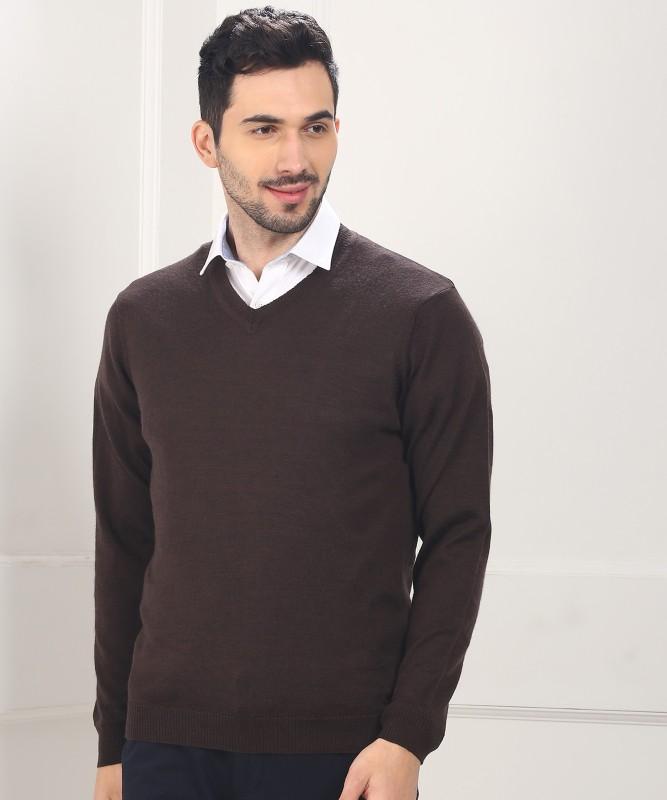 Park Avenue Solid V-neck Casual Men Brown Sweater