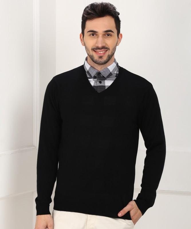 Park Avenue Solid V-neck Casual Men Black Sweater