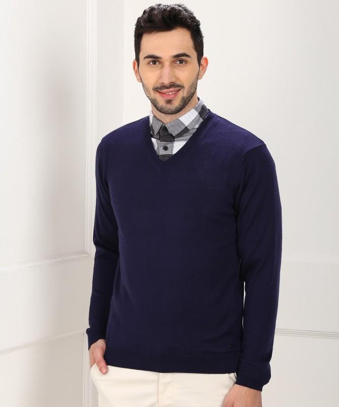 Park Avenue Solid V-neck Casual Men Blue Sweater