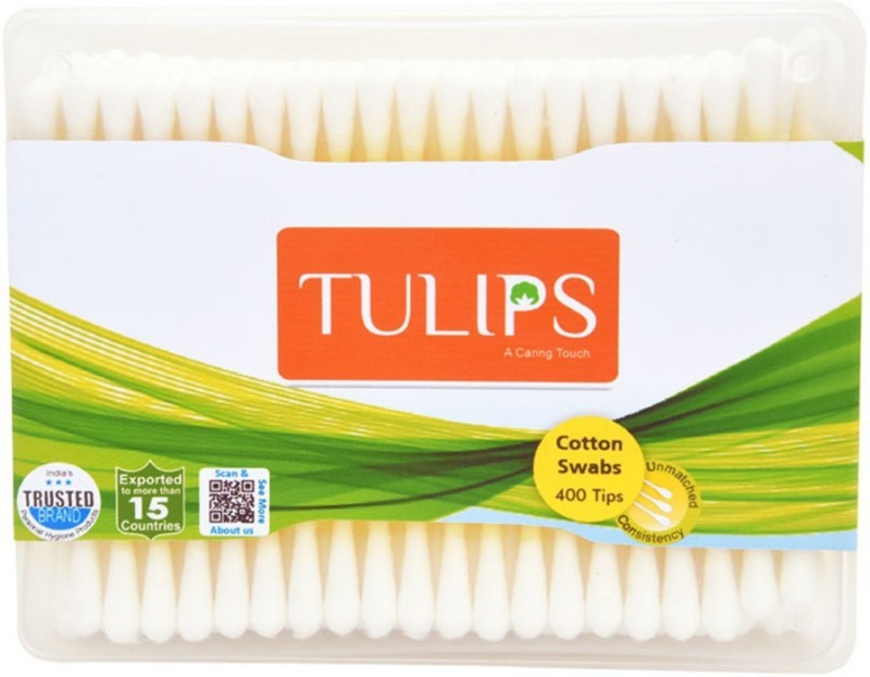 Tulips Cotton Buds Jar Box 400 Tips/200 Stems (Pack Of 3)(3 Units)
