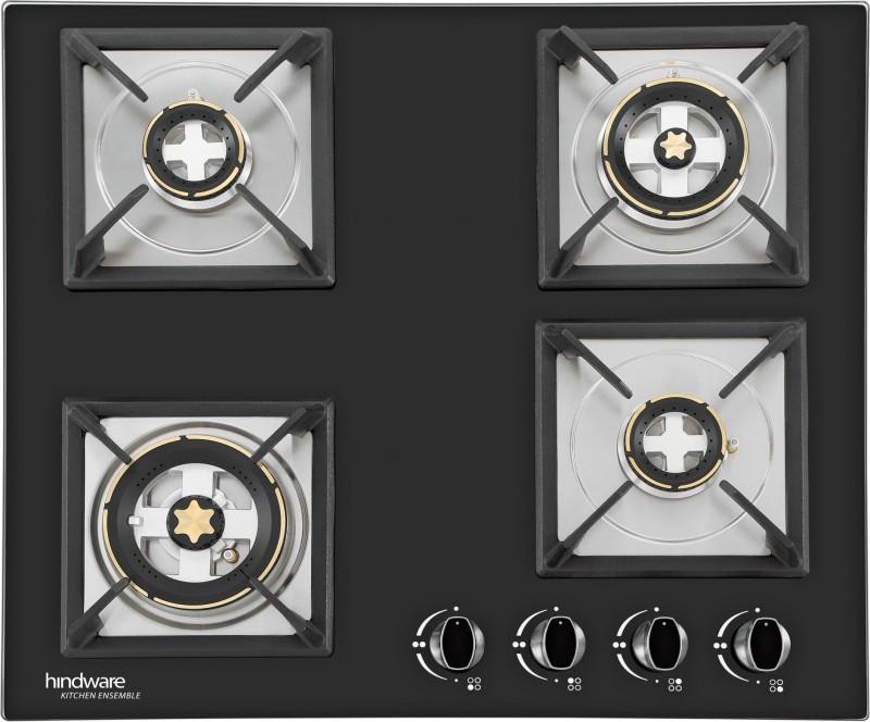 Hindware Hindware Flora Plus 4B Hob Glass, Steel Automatic Gas Stove(4 Burners)
