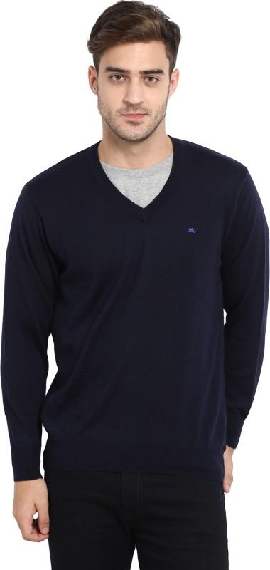 Monte Carlo Solid V-neck Casual Men's Dark Blue Sweater