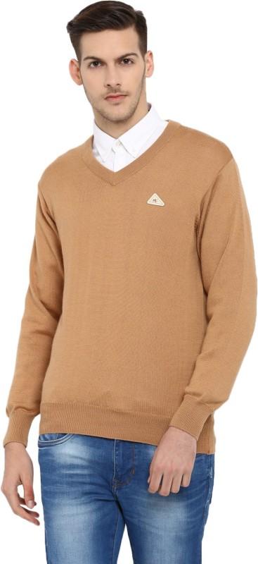 Monte Carlo Solid V-neck Casual Men Brown Sweater