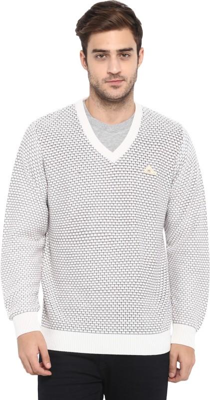 Monte Carlo Printed V-neck Casual Men Grey Sweater