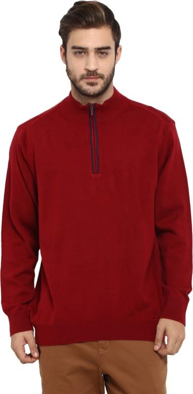 Monte Carlo Solid High Neck Casual Men Maroon Sweater