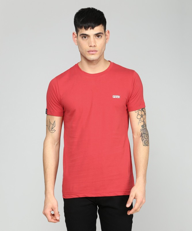 French Connection Solid Men Round Neck Red, White T-Shirt(Pack of 2)