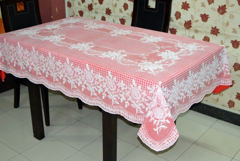 Katwa Clasic Floral 6 Seater Table Cover(Red, PVC)