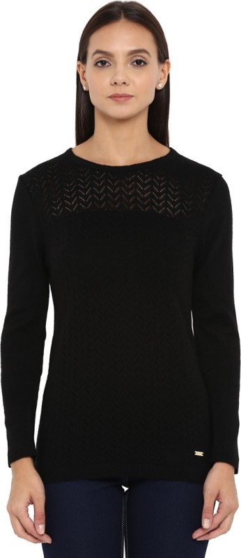Park Avenue Solid Round Neck Formal Women Black Sweater