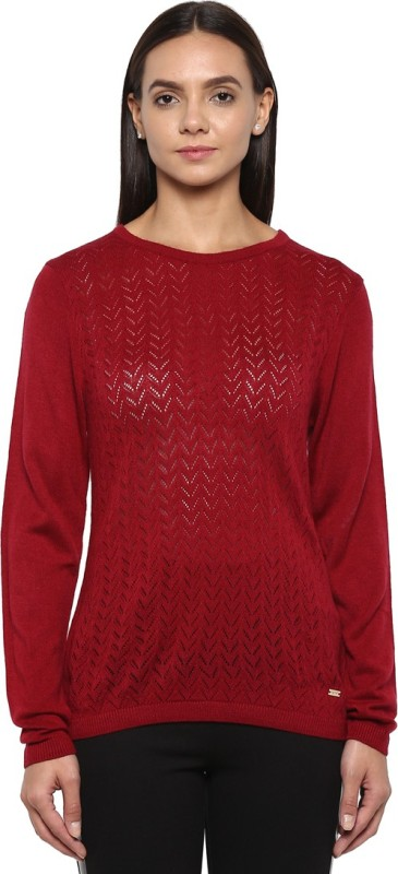 Park Avenue Solid Round Neck Formal Women Red Sweater