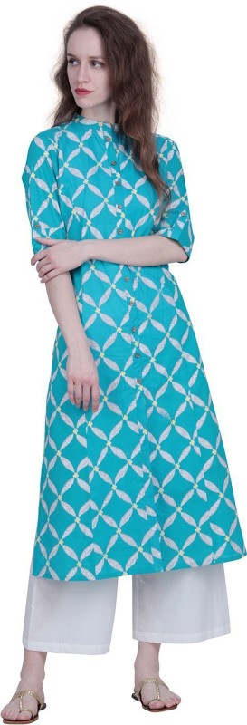 The Kala Shop Cotton Cambric A Line Block Print Blue Kurti With Cotton Off White Palazzo Printed Women Suit