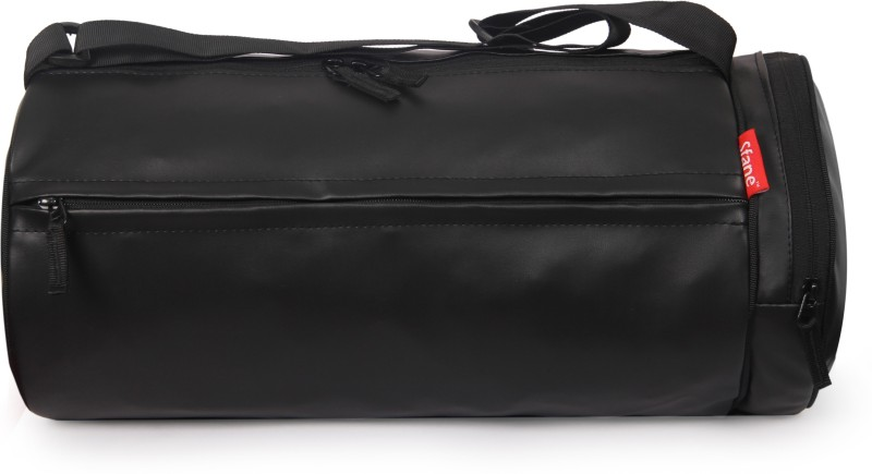 sfane Trendy Men & Women Black Leather Sports Duffel Gym Bag(Black)