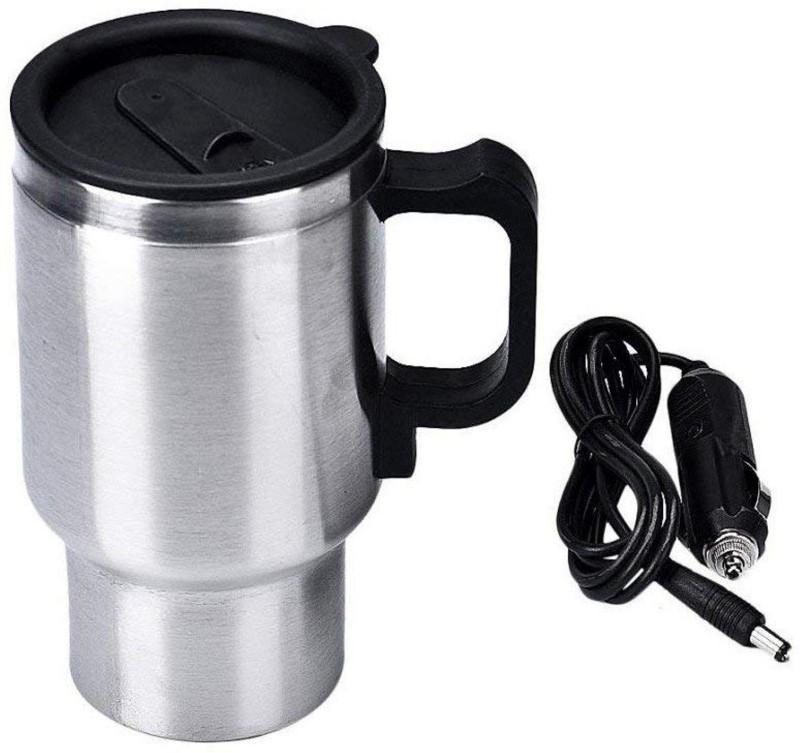 Shopkart Steel Car Travel Electric Mug Kettle with Plug, 450ml(Metallic) Self Heating Mug