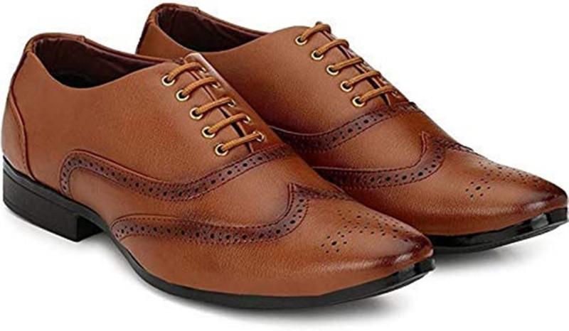 von huette Party wear tan formal dress shoes for men's Party Wear For Men(Tan)