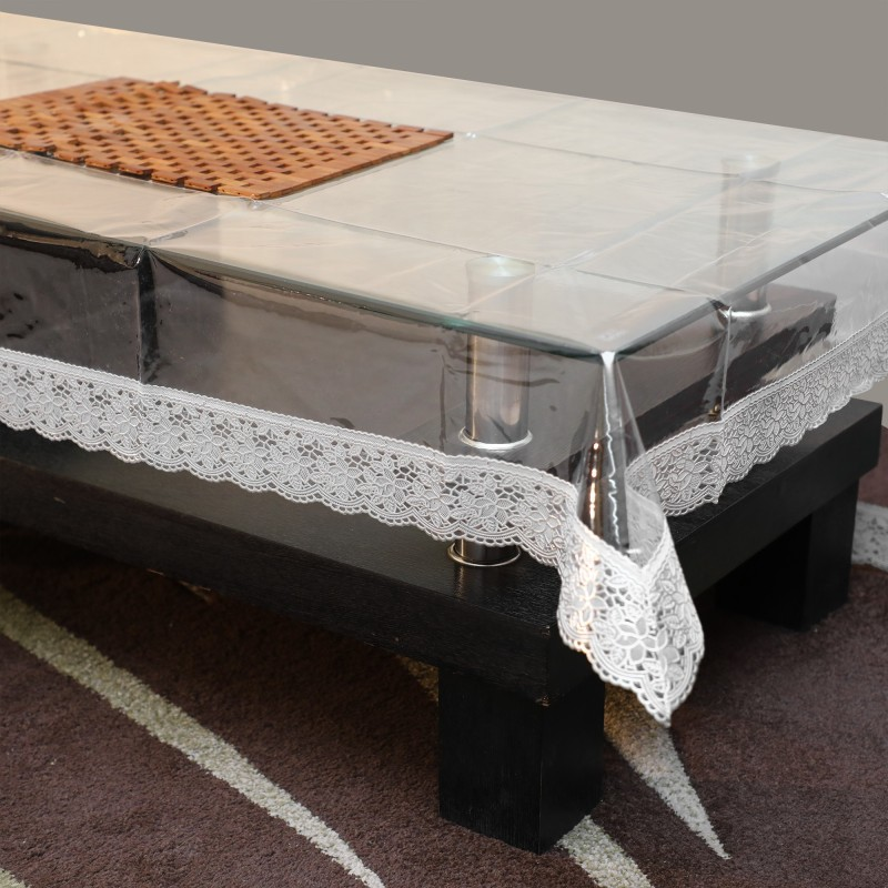 STITCHNEST Self Design 4 Seater Table Cover(Transparent, PVC)