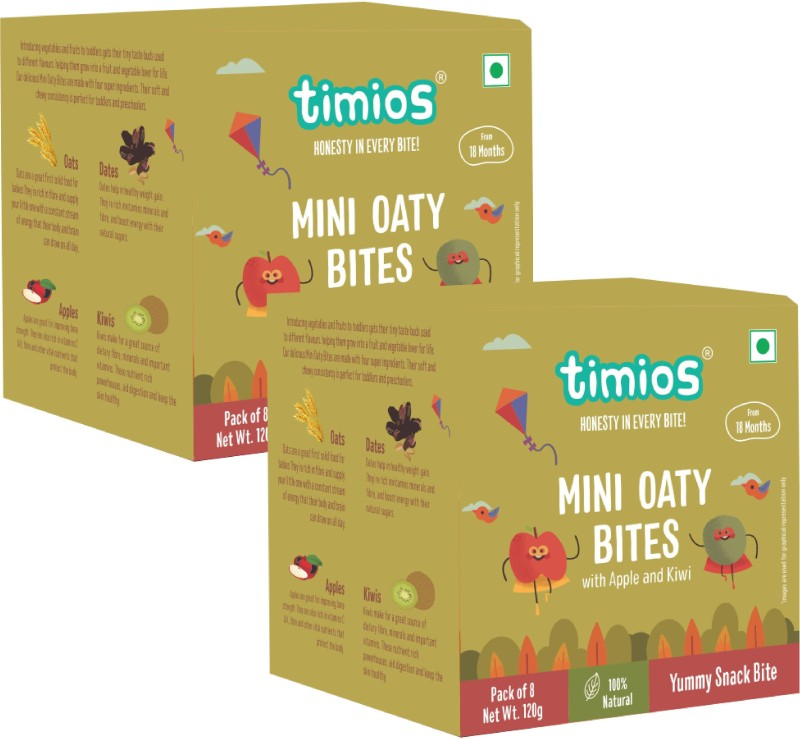 Timios Mini Oaty Bites | Apple and Kiwi | Healthy Snack for Kids | Natural Energy Food Product for Toddlers and Preschoolers | Nutritious and Ready to Eat for Children 18+ Months Pack of 2 Baby Snacks 120 g