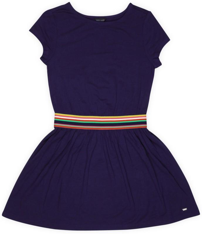 Tommy Hilfiger Girls Midi/Knee Length Casual Dress(Dark Blue, Cap Sleeve)