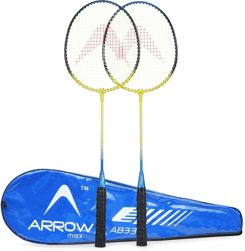 Arrowmax WIDE BODY ALUMINIUM RACKET SET OF 2 PCS ( AB-333 BLUE) BY ONE SHOT RETAIL Blue Strung Badminton Racquet(G3 - 3.5 Inches, 0.3)