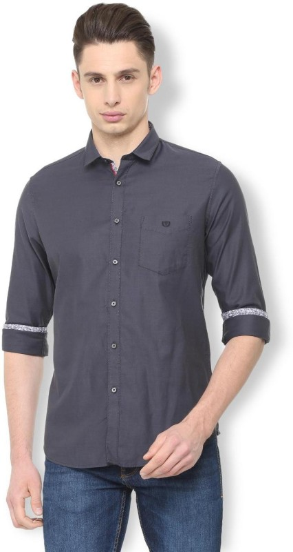 Van Heusen Men Solid Casual Grey Shirt