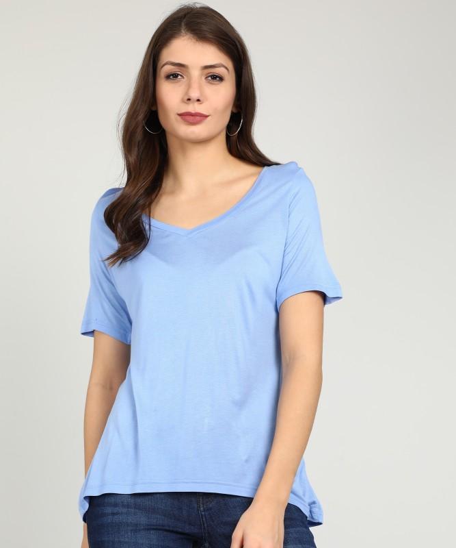 Van Heusen Solid Women V-neck Blue T-Shirt