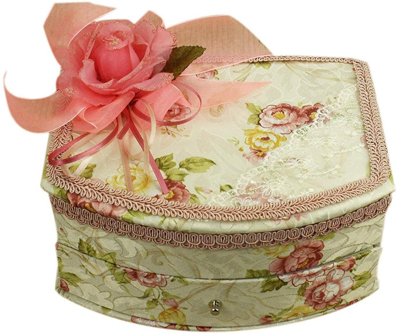 AVMART Pastel Green Pink Floral Fabric Wood Cosmetic, Makeup, Jewellery, Storage Travel Organizer Vanity Box, Gift, Home Decor, Utility Box (16x21 cm) V-3 Makeup box, Jewellery box, Cosmetic Vanity Box(Multicolor)
