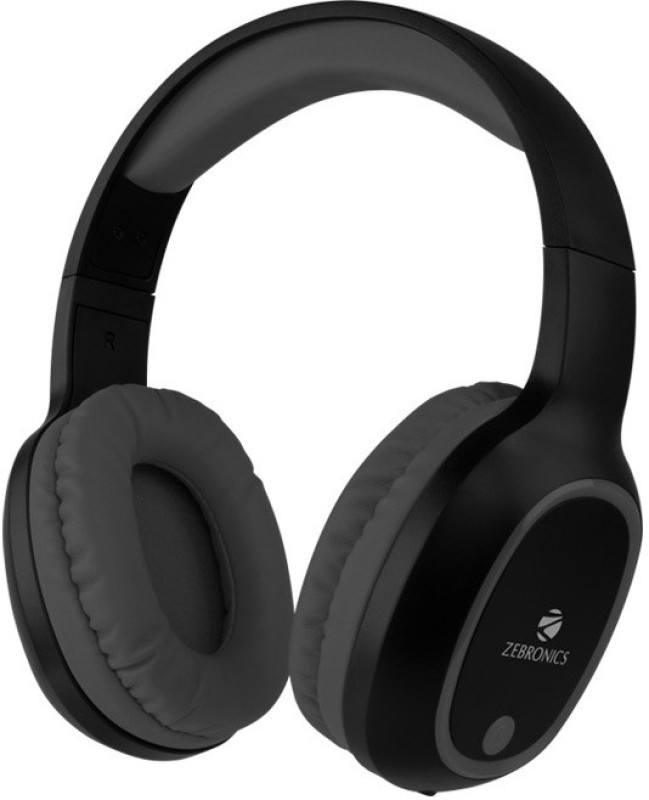 Zebronics BUILT IN FM RADIO,SUPPORTS microSD,AUX Bluetooth Headset with Mic(Black, Over the Ear)
