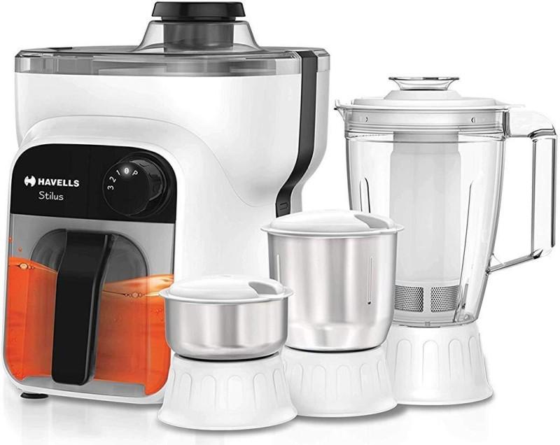 Havells Stilus 4 Jar 500 Juicer Mixer Grinder(White and Black, 4 Jars)