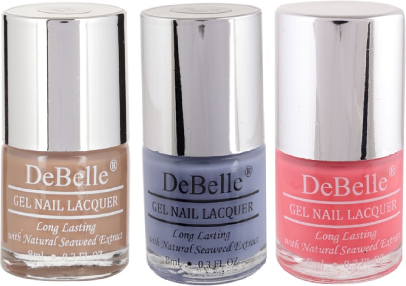 DeBelle Gel Nail Lacquer 8ml each Combo kit of 3 Coco Bean,Blueberry Bliss , Bebe Kiss(Pack of 3)