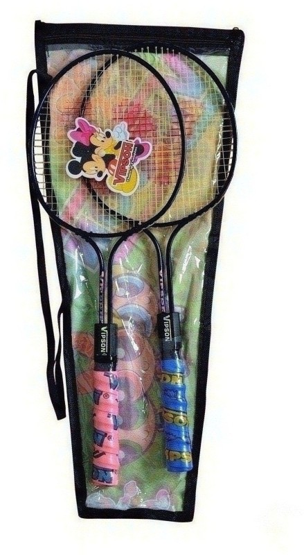 vipson Double Rod Light Weight Badminton Racquet Pair For Kids Boys Girls 3 To 8 Years Multicolor Strung Badminton Racquet(S3 - Small, 350 g)