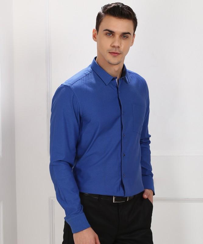 Blackberrys Men's Self Design Formal Blue Shirt