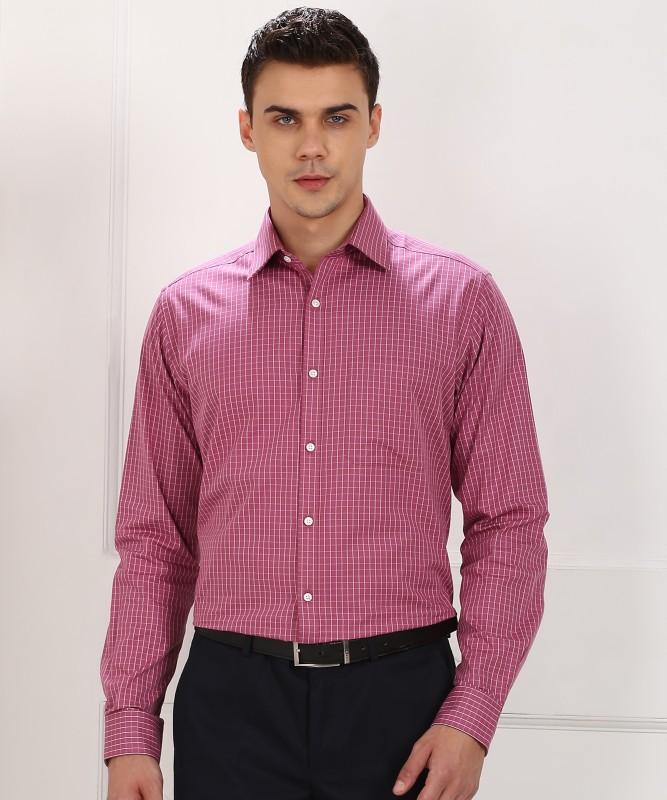 Raymond Men's Checkered Formal White, Pink Shirt