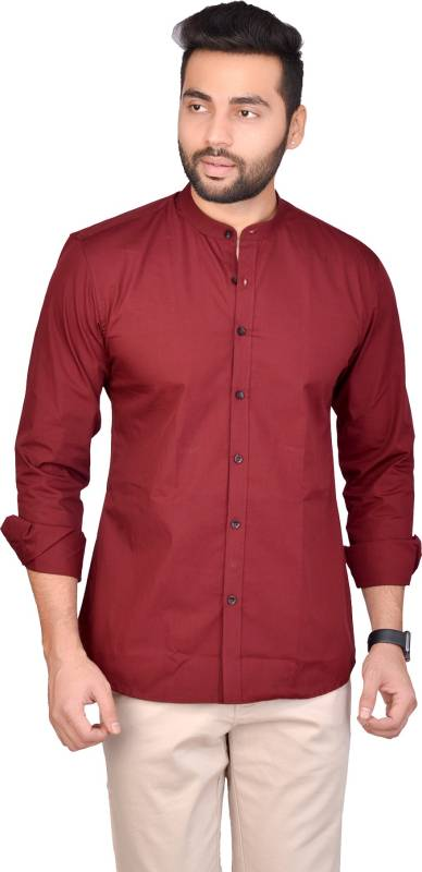 5th Anfold Men Solid Casual Maroon Shirt