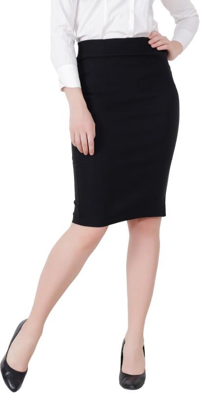 TANNURA FASHION Solid Women Pencil Black Skirt