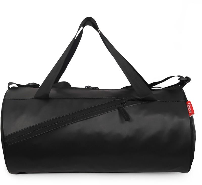sfane Men & Women Black Leatherite Sports duffel Gym Bag(Black)