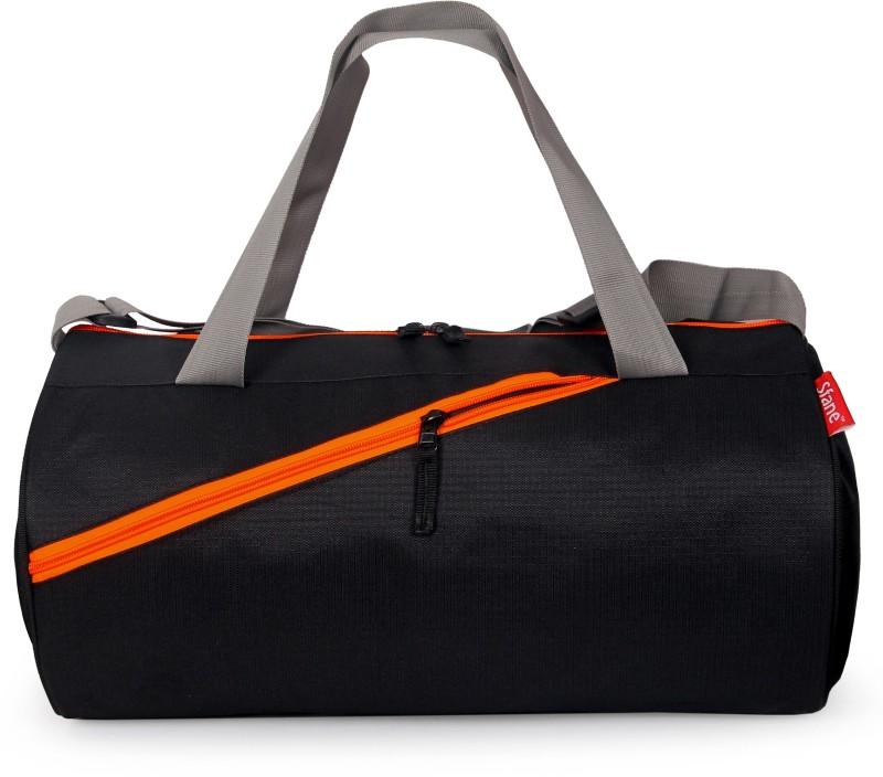 sfane Trendy Men & Women Black Sports Duffel Gym Bag(Black, Orange)