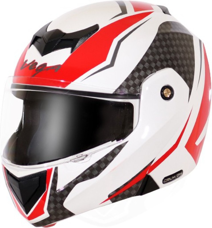 VEGA CRUX DX CHECKS WHITE RED Motorbike Helmet(WHITE RED)
