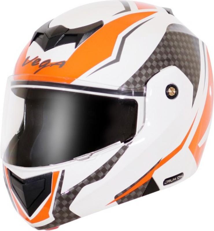 VEGA Crux DX Checks Motorbike Helmet(White Orange)