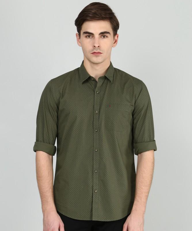 Peter England Men Printed Casual Green Shirt