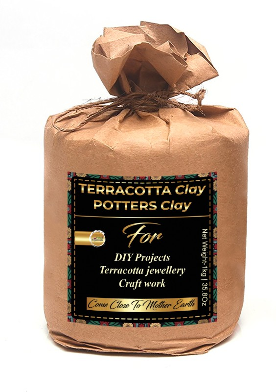 AGM BIOTECH 100% Natural & Original Terracotta Clay (1 KG) For DIY Products, Jewellery Making, Modeling, Pottery, Craft Work, School & College Projects Art Clay(1 kg)