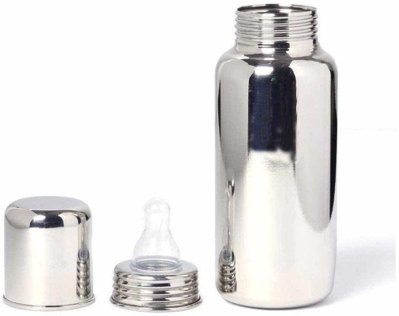 kuber industries Stainless Steel Small Baby Feeding Bottle 250 Ml (Silver) Set of 1 Pc - 250 ml(Silver)