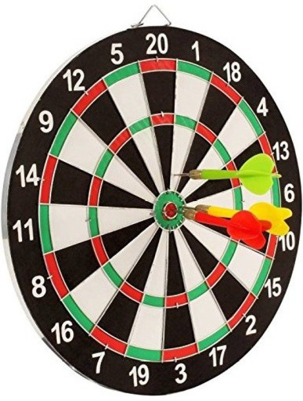 Bestie Toys Double Sided Dart Board Game - with 4 Darts - Size 12 inch Dart Board(Multicolor)