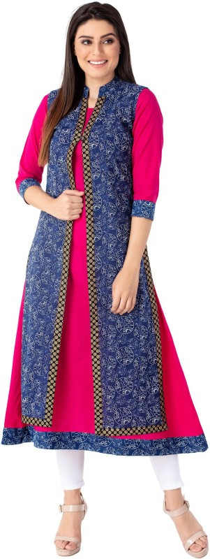M&D Casual Printed Women Kurti(Blue)