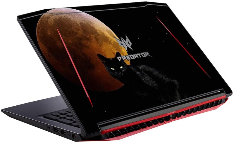 GADGETS WRAP Printed Cat n Moon Skin For Acer Predator Helios 300 15.6 MN-N17C1 Vinyl Laptop Decal 15.6