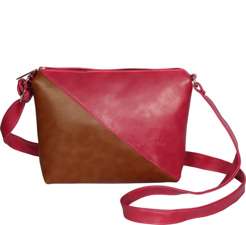 Leather Land Pink, Tan Sling Bag