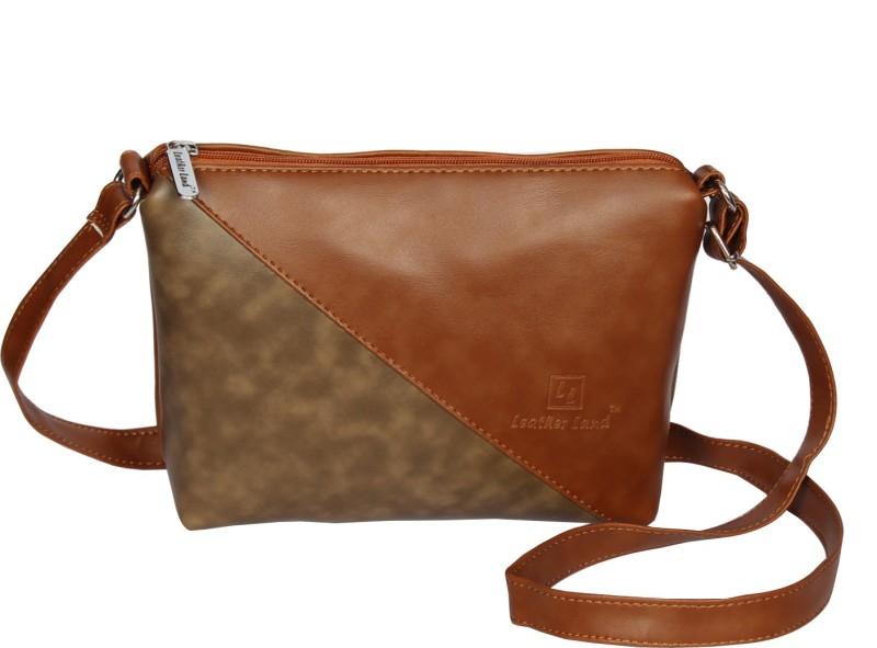 Leather Land Tan, Khaki Sling Bag
