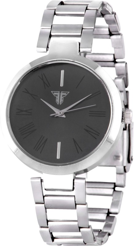 Traktime Youth Analogue Black Dial Silver Chain Analog Watch  - For Women