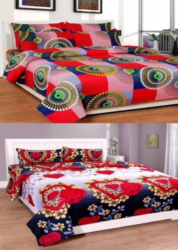 Royal Krishna 144 TC Polycotton, Satin, Cotton Double Floral Bedsheet(Pack of 2, Multicolor)