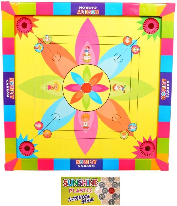 Sunshine International Carrom Board with Ludo 2 in 1 Game (17 x 17 inches) 3 cm Carrom Board(Multicolor)