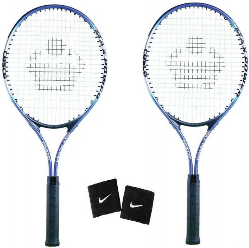Cosco Max Power Tennis Racquet ( Pack of 2 ) with 1 Pair Wrist Band Tennis Kit